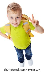 Portrait of a little boy with bag showing victory symbol