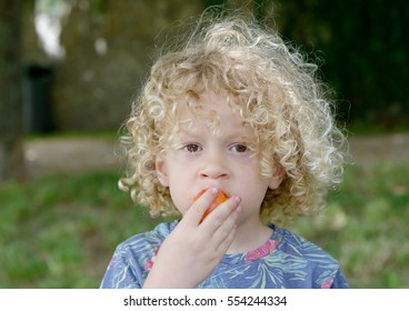 Portrait of a little boy blond and curly