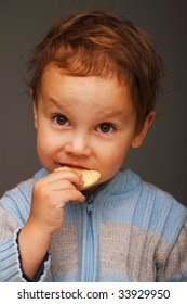 Portrait of a little boy in a blue sweater eating a cookie, open attentive look