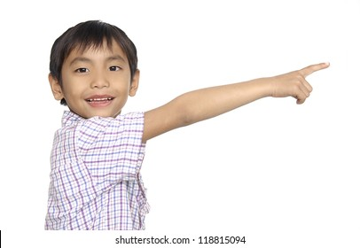 Portrait of Little boy with empty pointing lifted up hand