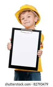 Portrait of little boy with hard hat on white background
