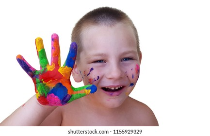 Portrait of little boy having fun with one hand paint