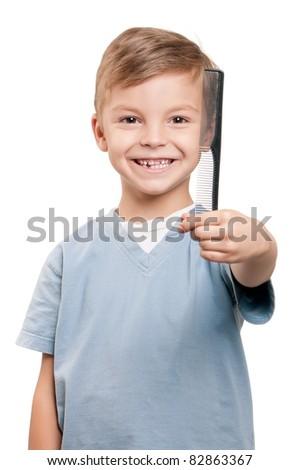 Portrait Little Boy Holding Comb Over Stock Photo Edit Now