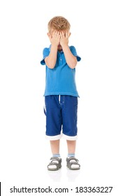 Portrait of little boy, isolated on white background