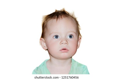 portrait of a little boy, on white background, isolated