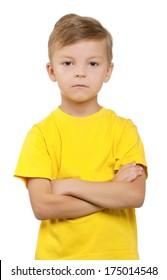 Portrait of little boy over white background