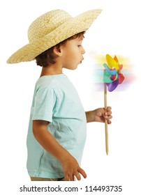 portrait of a little boy playing over isolated background