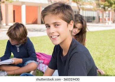 Portrait of a little boy in school campus