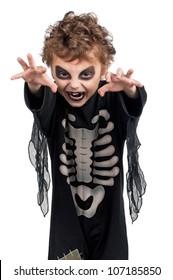 Portrait of little boy wearing halloween costume on white background