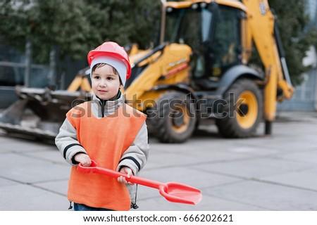 Portrait Little Builder Hardhats Working Outdoors Stock Photo Edit