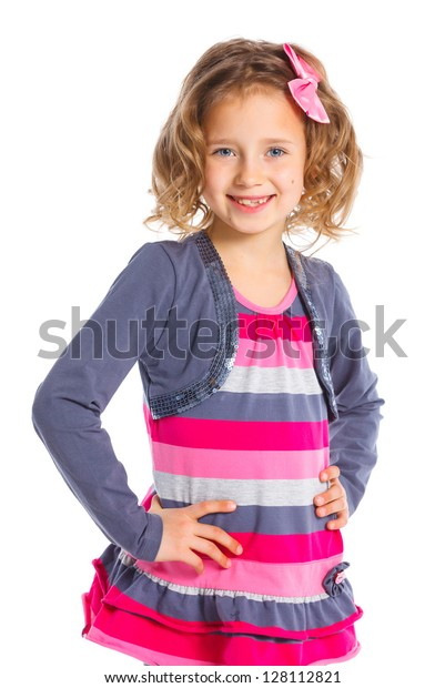 Portrait of little fashion girl. Isolated white backround.