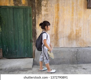 Portrait little girl Asian Backpack Walking