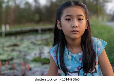 Portrait little girl Asian beautiful face