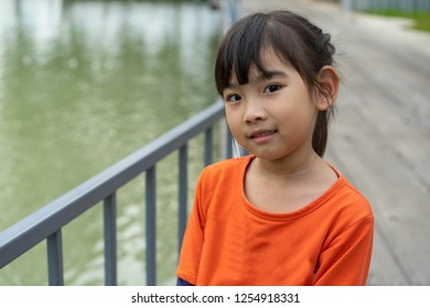 Portrait little girl Asian happy smile
