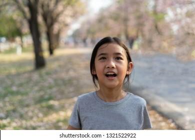 Portrait little girl Asian happy smile