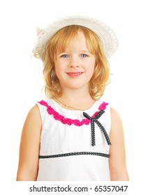 Portrait of little girl with Easter hat  isolated on the white background.