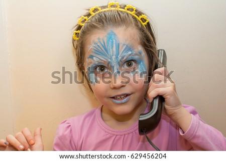Portrait Little Girl Face Painting Talking Stock Photo Edit Now