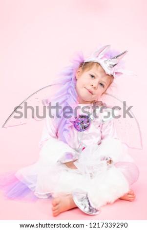 Portrait Little Girl Glitter Unicorn Costume Stock Photo Edit Now