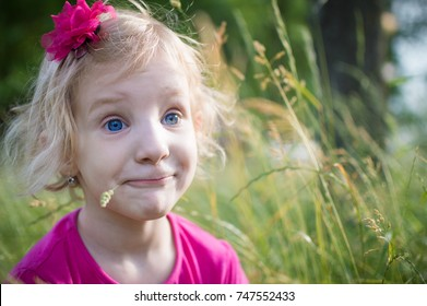 Portrait of a little girl in the grass
