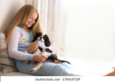 Portrait of little girl with long blonde straight hair playing with black and white Cavalier King Charles Spaniel puppy at home on windowsill. Child with her pet friend. Close up, copy space.