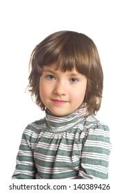 Portrait of little girl on white background