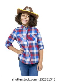 Portrait of a little girl with a sheriff hat isolated on white