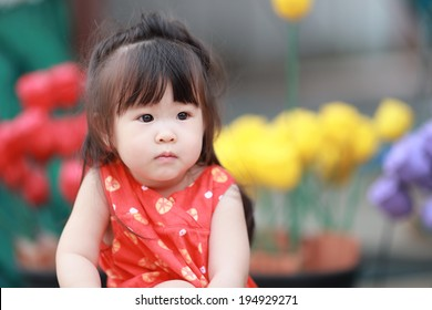 Portrait of  little girl in summer day