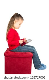 Portrait of Little Girl with Tablet Computer, isolated on White