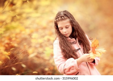 portrait of little pretty girl with long brown hair in the autumn park