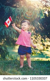 portrait of little white Caucasian baby girl holding Canadian flag with red maple leaf. Toddler celebrating national Canada day in summer  park outside