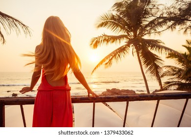 Portrait long hair blonde beauty stunning sexy model in a stylish pink jumpsuit palm tree and sunset