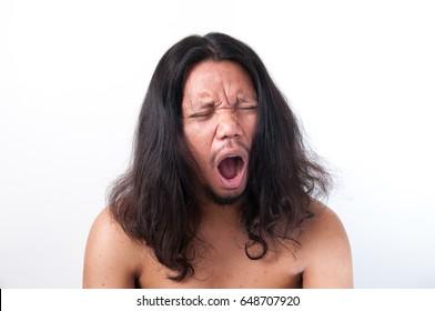 Portrait long hair man are slepy. - Shutterstock ID 648707920