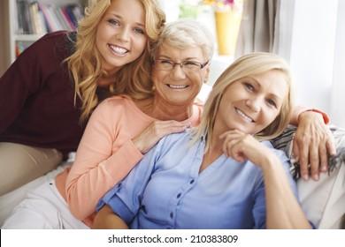 Portrait of lovely family women in living room