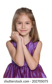A portrait of a lovely little girl on the white background