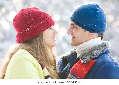 Portrait of loving girl and boy looking at each other