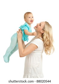 Portrait of loving mother and her child on white background