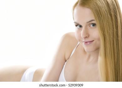 portrait of lying down woman