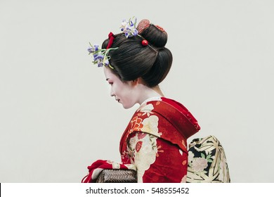 Portrait of  a Maiko geisha in Gion Kyoto