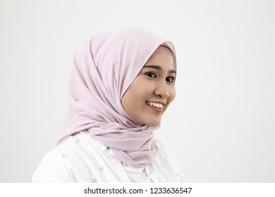 portrait of malay woman with tudung on the white background
