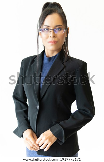 Portrait of Malaysian ladies with facial expression on white background