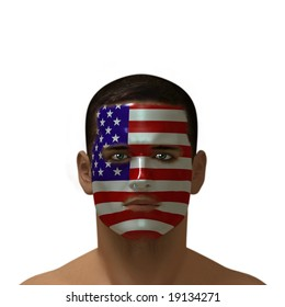 Portrait of a male with an American flag painted on his face.