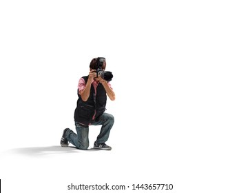 Portrait of male asian photographer taking pictures. Taking photo in action.