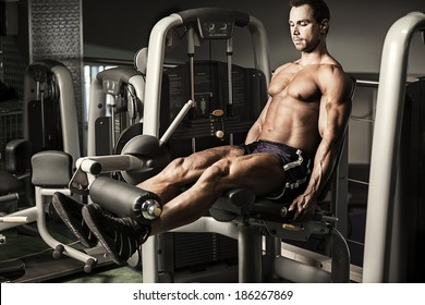 Portrait of male bodybuilder doing exercise at gym