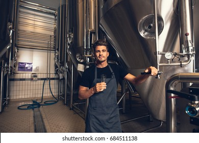 Portrait of male brewer standing by tank in brewery. Man examining the beer in processing section.