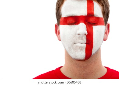 Portrait of a male with a british flag painted on his face