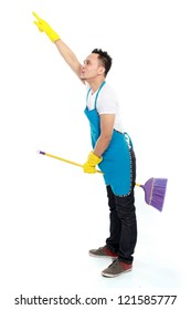 portrait of male cleaning service play with his broom