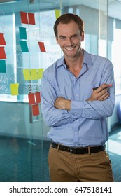 Portrait of male executive standing with arms crossed in office