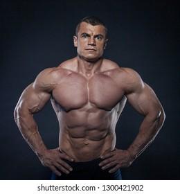 Portrait of male fitness model posing
