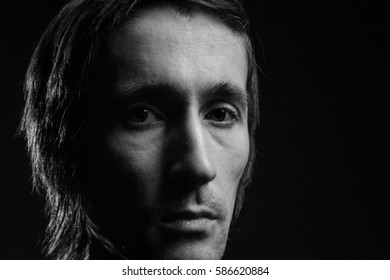 portrait of male model closeup. black and white photography