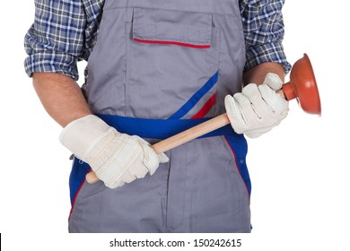 Portrait Of Male Plumber Holding Plunger isolated Over White Background